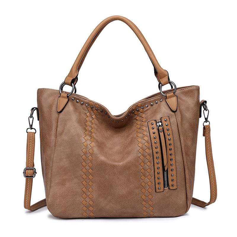 Obangbag Dark Apricot Women Elegant Vintage Big Large Capacity Rivet Professional Leather Shoulder Bag Handbag Crossbody Bag