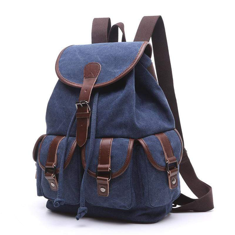 Obangbag Dark Blue / Large Women Chic Multi Pockets Large Capacity Canvas Backpack for School for Traval