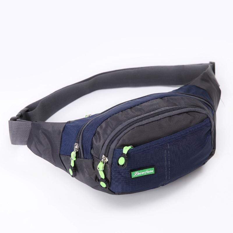 Obangbag Dark Blue Men Large Capacity Multi Pockets Sports Multifunction Outdoors Nylon Waterproof Fanny Pack