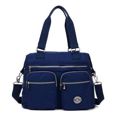 Obangbag Dark Blue Multi Pockets Big Cloth Tote Bag Waterproof Teacher School Shoulder Bag
