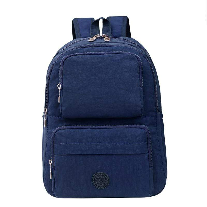 Obangbag Dark Blue Unisex Big Casual Multi Pockets Multifunction Lightweight Nylon Backpack for Work for Travel