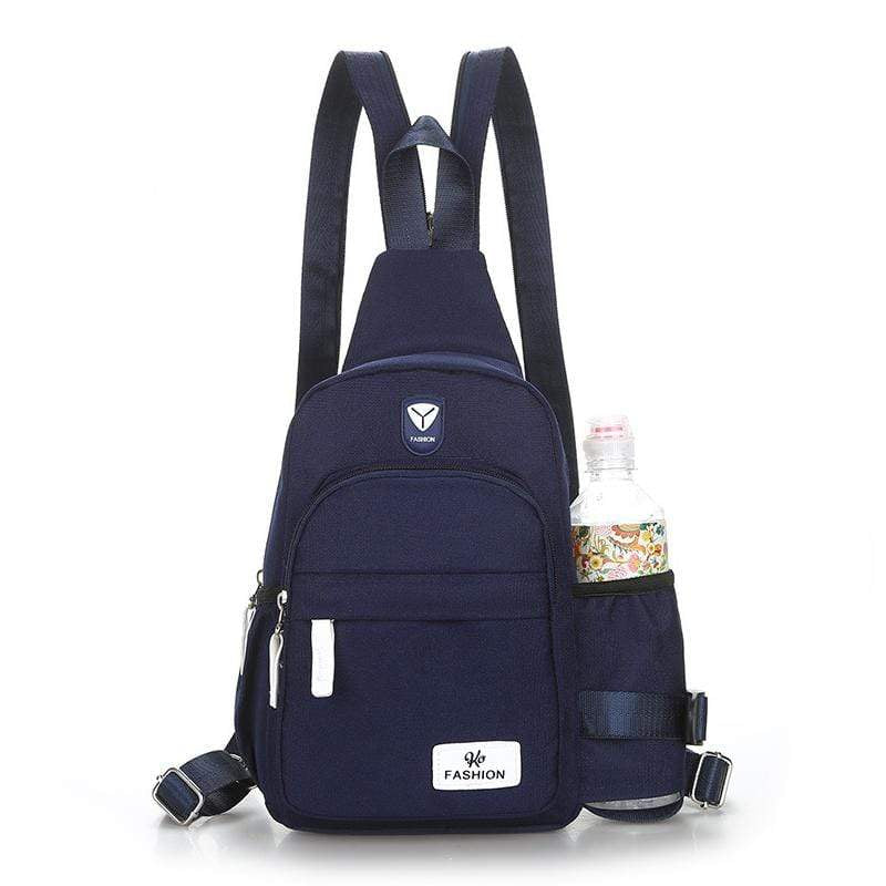 Obangbag Dark Blue Unisex Chic Stylish Roomy Multifunction Waterproof Nylon Backpack Shoulder Bag Chest Bag for Travel