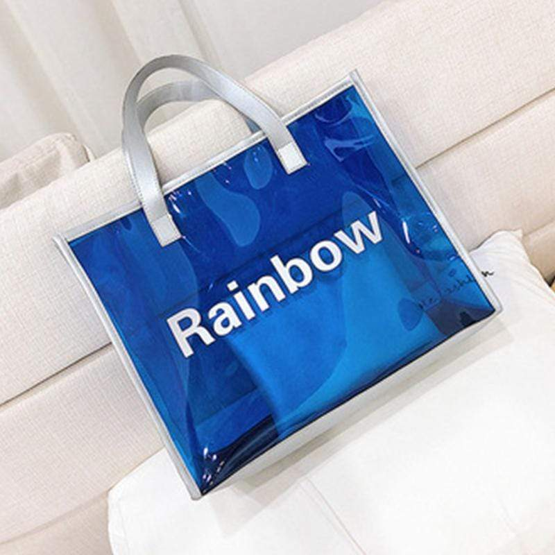 Obangbag Dark Blue Women Chic Large Capacity Clear Transparent Spring Summer PVC Tote Bag Bag Set