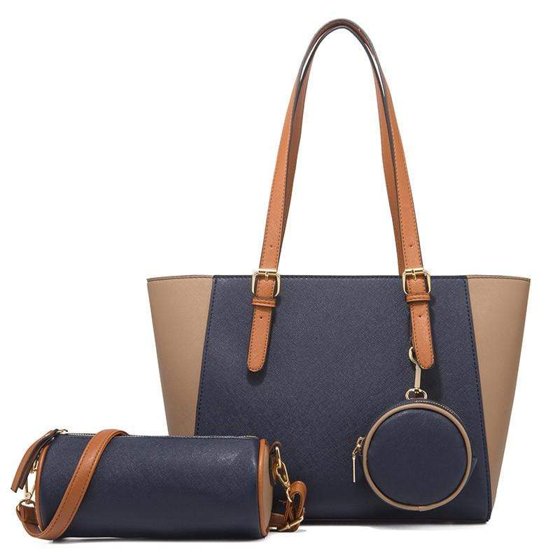Obangbag Dark Blue Women Chic Multifunction Large Capacity Professional Leather Bag Set Hnadbag Purse Crossbody Bag for Work