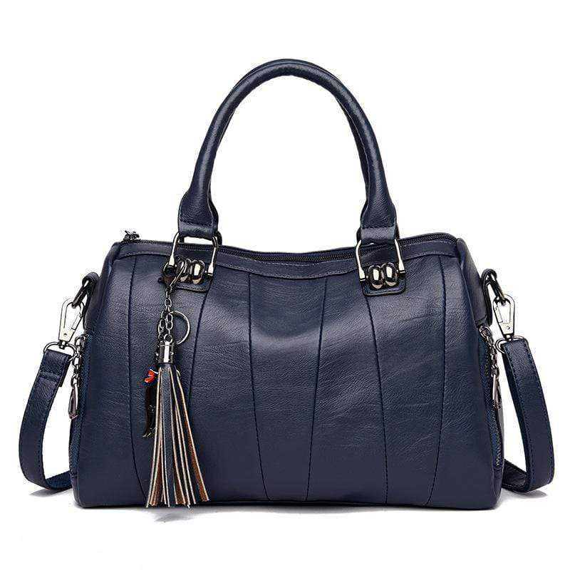 Obangbag Dark Blue Women Elegant Simple Roomy Lightweight Leather Boston Bag Handbag Crossbody Bag