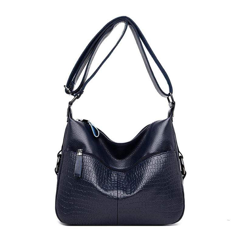 Obangbag Dark Blue Women Elegant Stylish Large Capacity Soft Leather Shoulder Bag Crossbody Bag for Work