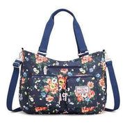 Obangbag Dark Blue Women Floral Print Multi Pockets Big Capacity Teacher Cloth Tote Bag