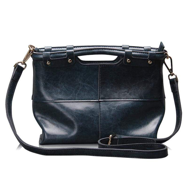 Obangbag Dark Blue Women Retro Large Capacity Daily Professional Genuine Leather Handbag Crossbody Bag for Work