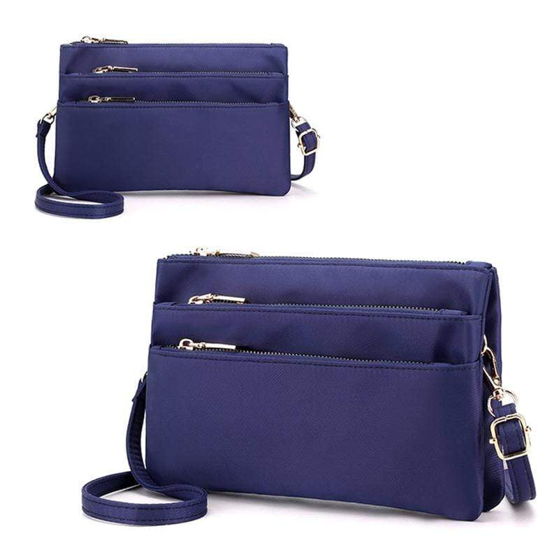 Obangbag Dark Blue Women Simple Lightweight Multi Layers Daily Multi Pockets Nylon Shoulder Bag Crossbody Bag