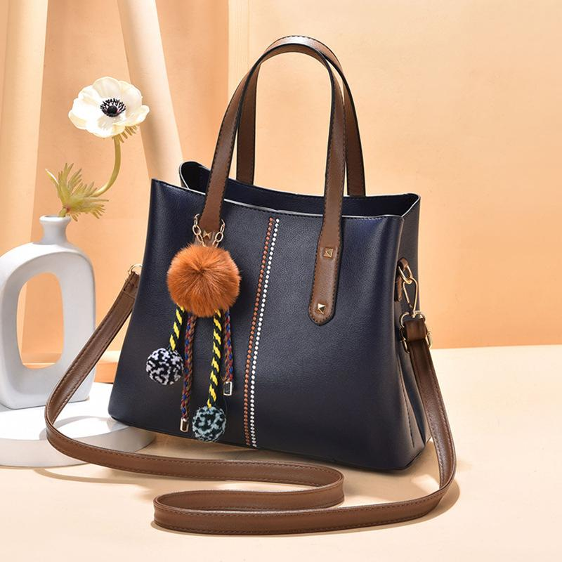 Obangbag Dark Blue Women Vintage Chic Large Capacity Professional Leather Handbag Shoulder Bag Crossbody Bag
