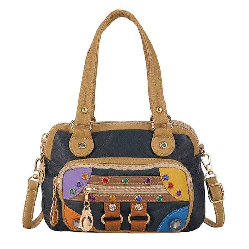 Obangbag Dark Blue Women Vintage Cute Chic Roomy Lightweight Soft Leather Handbag Crossbody Bag