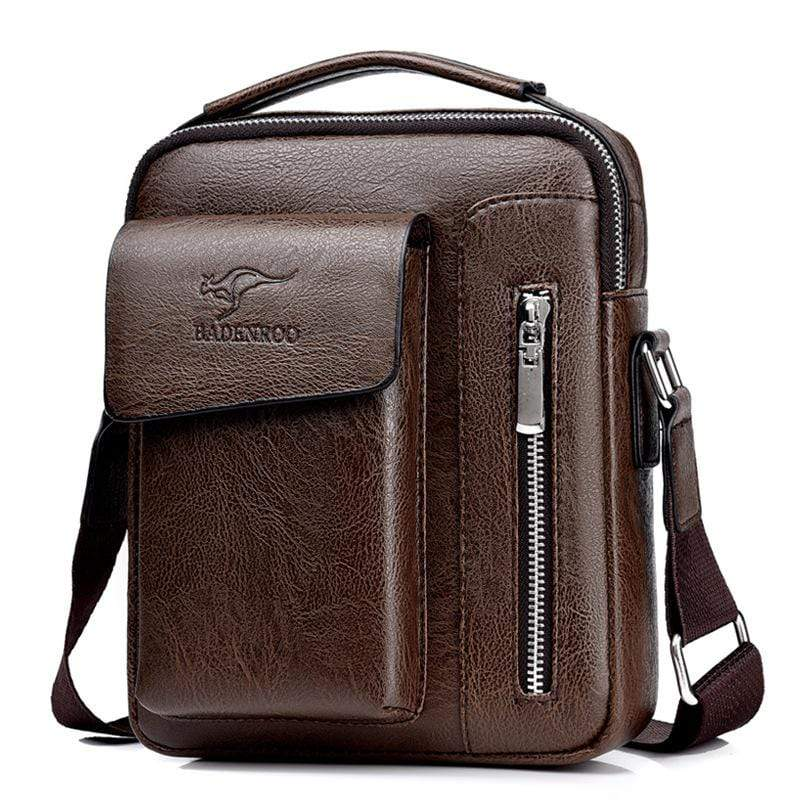 Obangbag Dark Brown / Large Men Retro Multi Pockets Professional Large Capacity Leather Handbag Crossbody Bag for Work