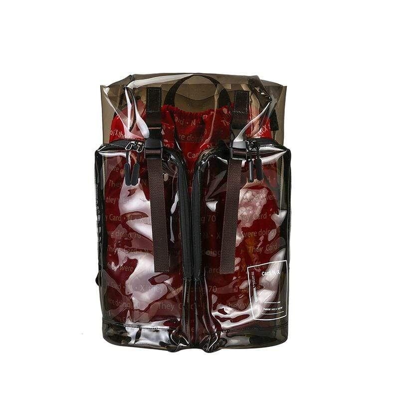 Obangbag Dark Brown&Red Unisex Fashion Big Oversized Roomy Clear Transparent Plastic PVC Backpack