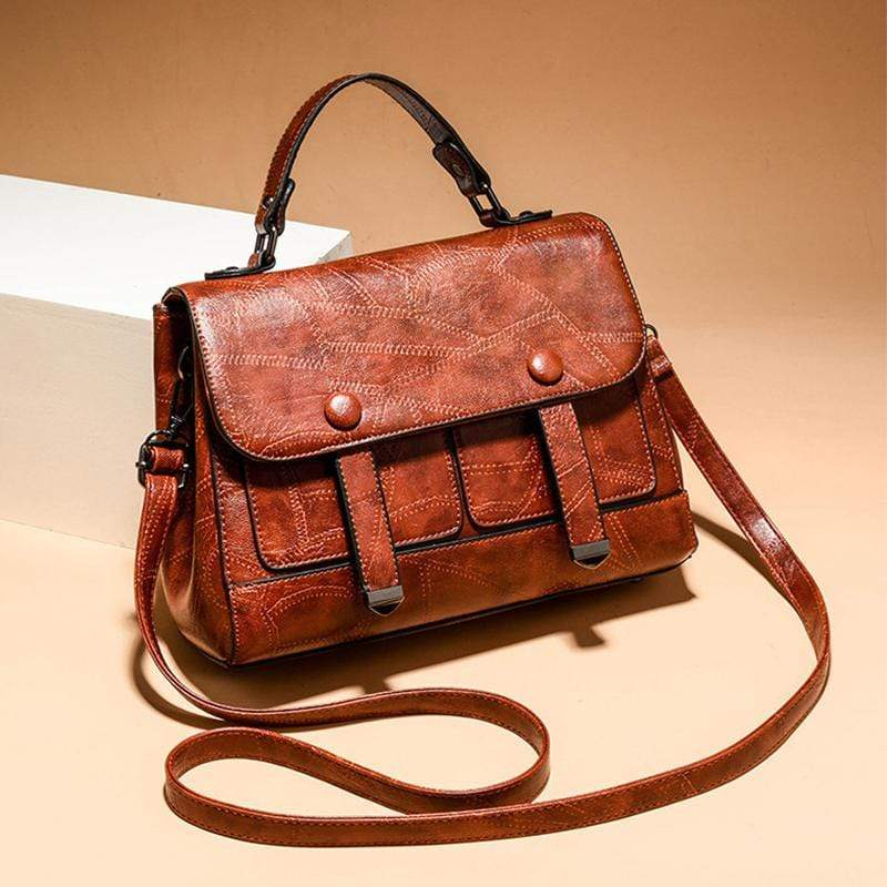 Obangbag Dark Brown Women Vintage Professional Multi Pockets Multifunction Leather Handbag Crossbody Bag for Work