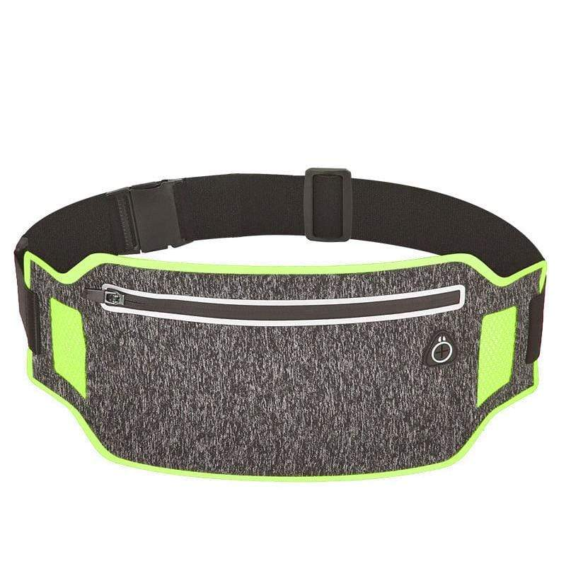 Obangbag Dark Gray+Green Unisex Casual Simple Multifunction Outdoor Anti-theft Running Lycar Waterproof Fanny Pack for Sport