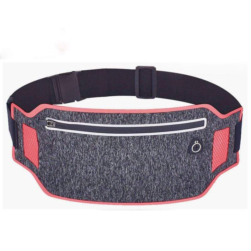 Obangbag Dark Gray+Red Unisex Casual Simple Multifunction Outdoor Anti-theft Running Lycar Waterproof Fanny Pack for Sport
