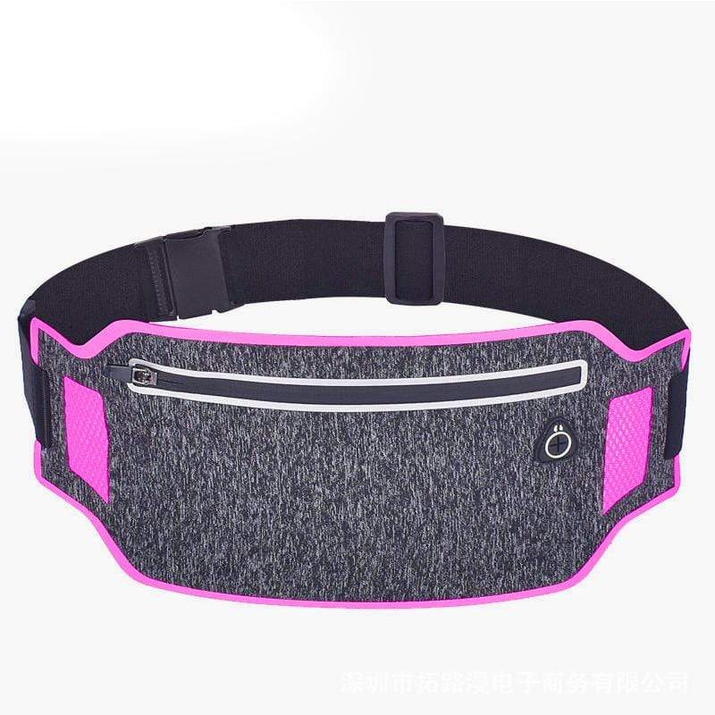 Obangbag Dark Gray+Rose Red Unisex Casual Simple Multifunction Outdoor Anti-theft Running Lycar Waterproof Fanny Pack for Sport