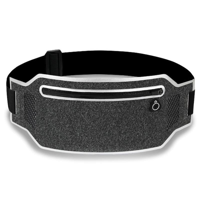 Obangbag Dark Gray+Silver Unisex Casual Simple Multifunction Outdoor Anti-theft Running Lycar Waterproof Fanny Pack for Sport