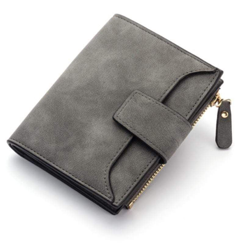 Obangbag Dark Gray Women Leather Wallets Cards Holders Coin Pocket Purse