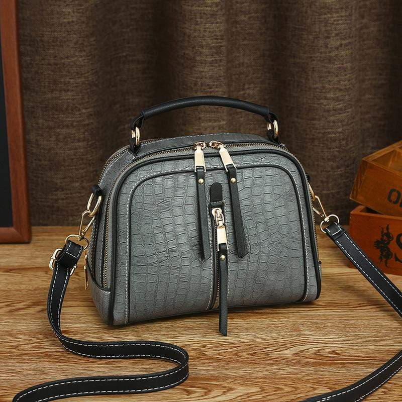 Obangbag Dark Gray Women Mini Vintage Daily Lightweight Roomy Leather Crossbody Bag Handbag Shoulder Bag