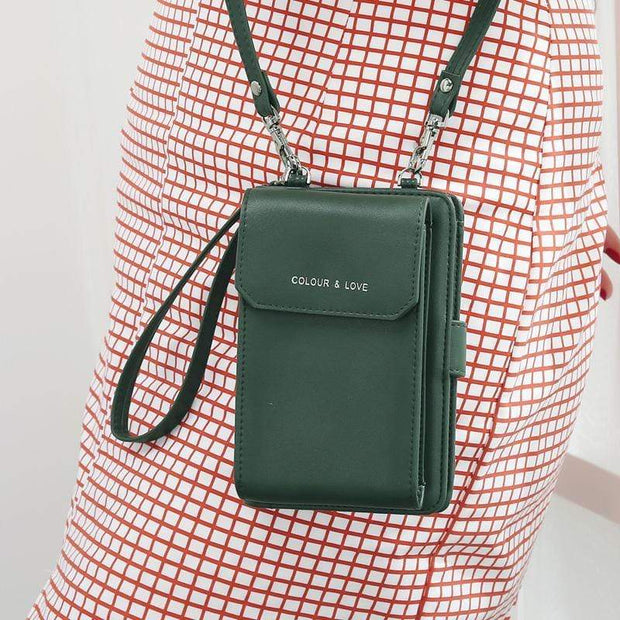 Obangbag Dark Green Multifunctional Leather Phone Bag Roomy Card Wallet Fashion Shoulder Bag