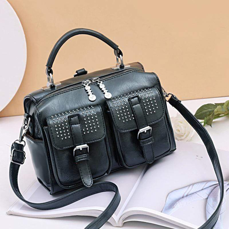 Obangbag Dark Green Women Chic Stylish Multi Pockets Roomy Multifunction Leather Boston Bag Handbag Crossbody Bag Backpack