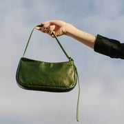 Obangbag Dark Green Women Simple Chic Oil Wax Leather Baguette Handbag Underarm Shoulder Bag