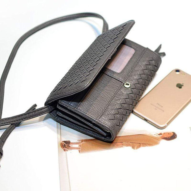Obangbag Dark Grey Leather Woven Wallet Multi Slot Card Holder Chic Women Shoulder Bag