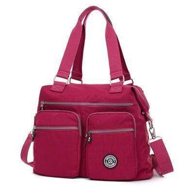 Obangbag Dark Pink Multi Pockets Big Cloth Tote Bag Waterproof Teacher School Shoulder Bag