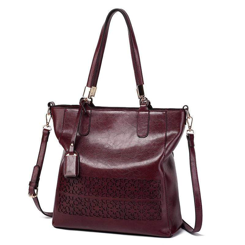 Obangbag Dark Red Women Vintage Multifunction Large Capacity Floral Oil Wax Leather Tote Bag Crossbody Bag Handbag