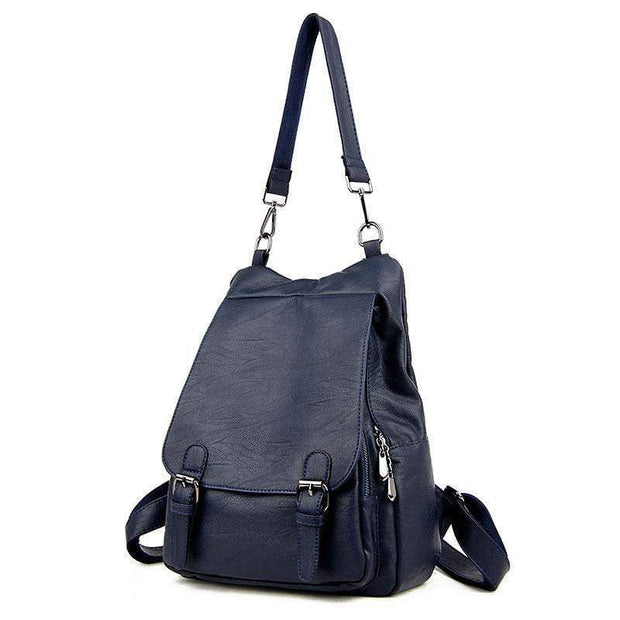 obangbag Deep Blue Ladies Multi Pockets Large Capacity Leather Backpack Shoulder Bag