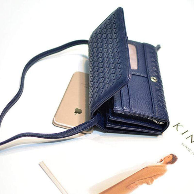 Obangbag Deep Blue Leather Woven Wallet Multi Slot Card Holder Chic Women Shoulder Bag