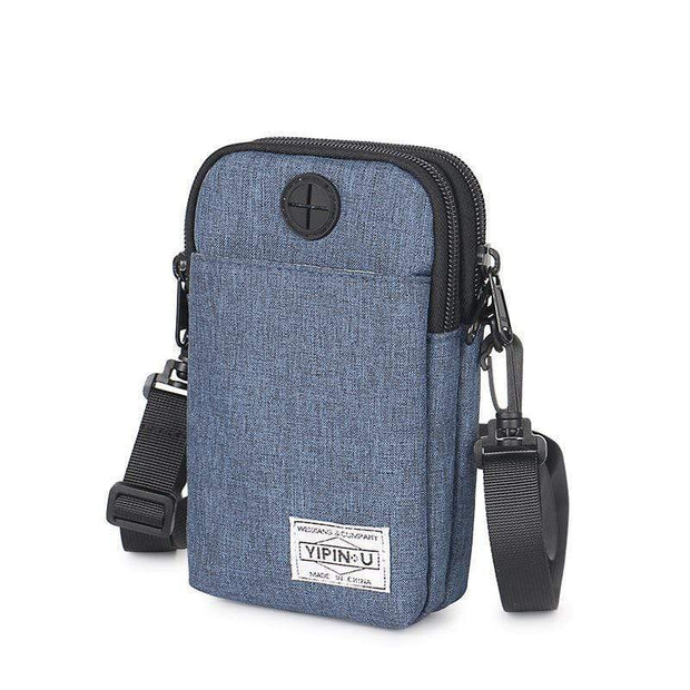 Obangbag Deep Blue Multifunction Phone Bag Outdoor Leisure Pockets Shoulder Bag Multi Layer Mini Bag