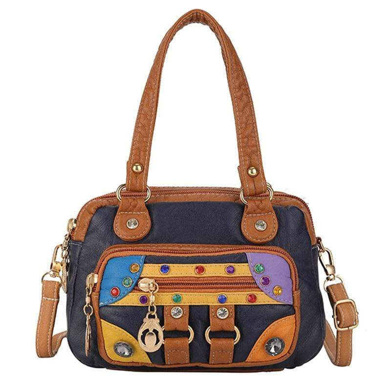 Obangbag Deep Blue Women Vintage Cute Chic Roomy Lightweight Soft Leather Handbag Crossbody Bag
