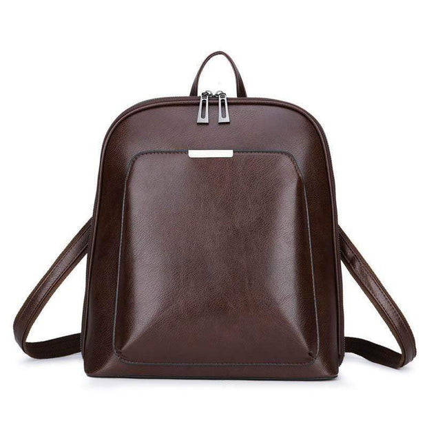 Obangbag Deep Brown Multi Pockets Retro Vintage Oil Wax Leather Women Travel Computer Laptop Large Backpack