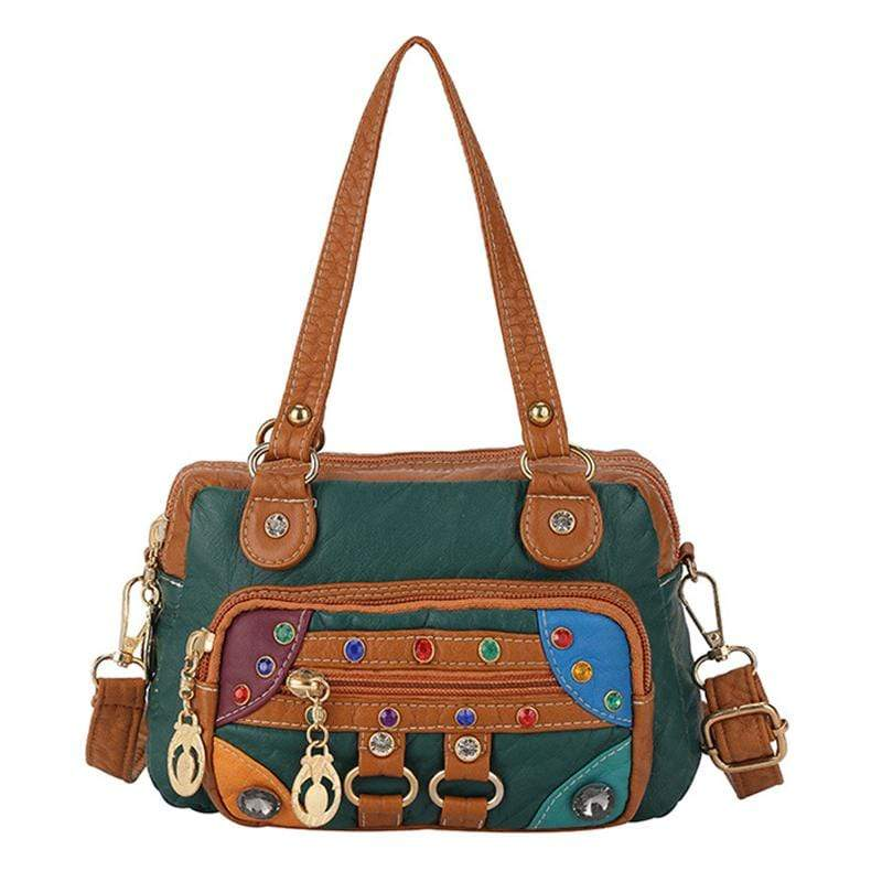 Obangbag Deep Green Women Vintage Cute Chic Roomy Lightweight Soft Leather Handbag Crossbody Bag