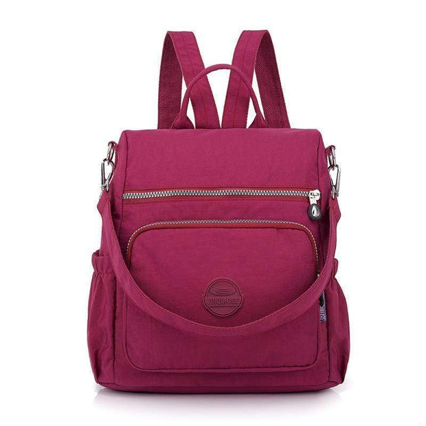 Obangbag Deep Pink Multifunctional Ladies Shoulder Bag Wild Travel Waterproof Nylon Large Capacity Backpack