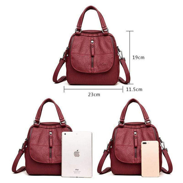 Obangbag Double Layer Side Pockets Leather Backpack For Women