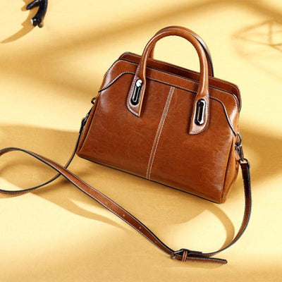 Obangbag Female Vintage Large Capacity Leather Shoulder Bag Work Tote Bag