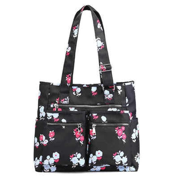 Obangbag Floral Waterproof Women's Large Capacity Canvas Travel Shoulder Bag Tote Bag