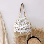 Obangbag Flower-apricot Summer Lace Rattan Straw Leaf Woven Bucket Handbag Beach Bag for Ladies