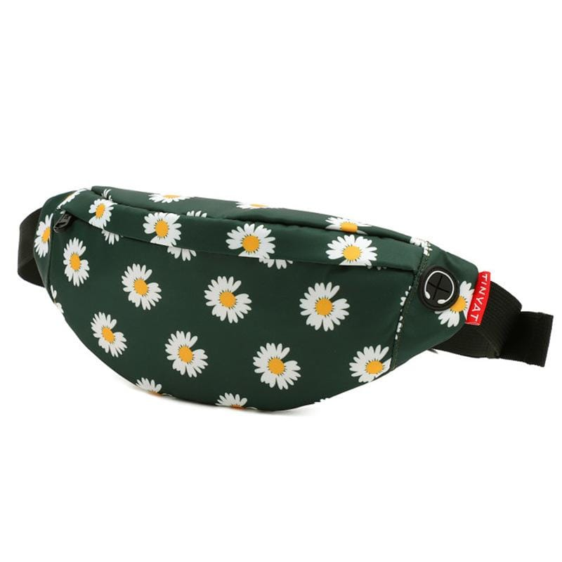 Obangbag Flower Dark Green Unisex Lightweight Multifunction Casual Sports Outdoor Waterproof Fanny Pack Phone Bag