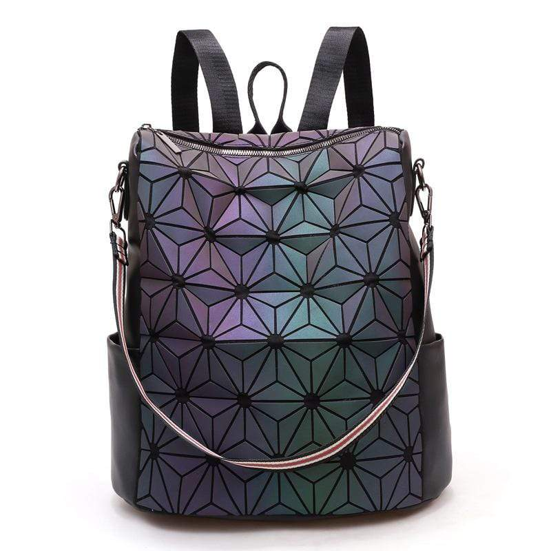 Obangbag Flower Pattern Women Chic Roomy Vintage Multifunction Multi Pockets PU Backpack Shoulder Bag