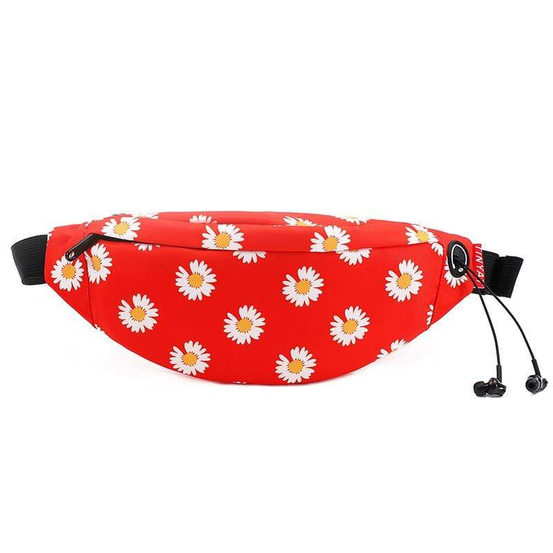 Obangbag Flower Red Unisex Lightweight Multifunction Casual Sports Outdoor Waterproof Fanny Pack Phone Bag