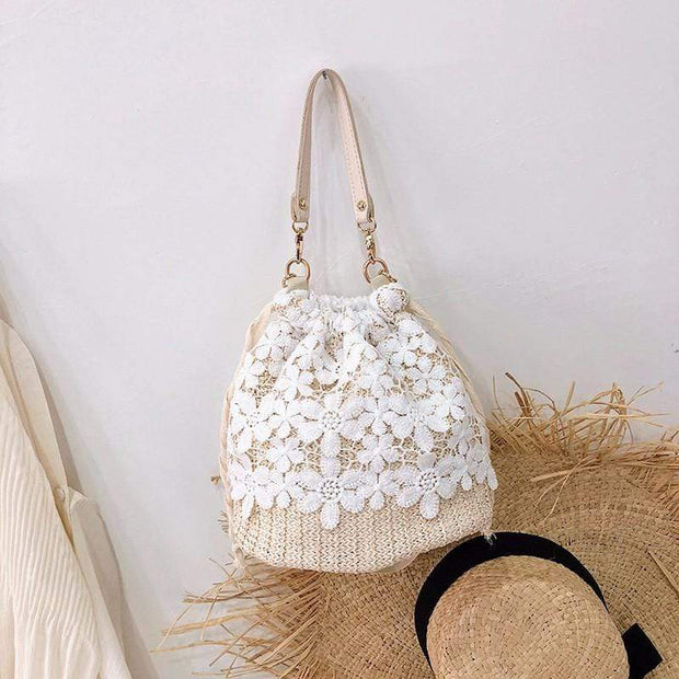 Obangbag Flower-white Summer Lace Rattan Straw Leaf Woven Bucket Handbag Beach Bag for Ladies