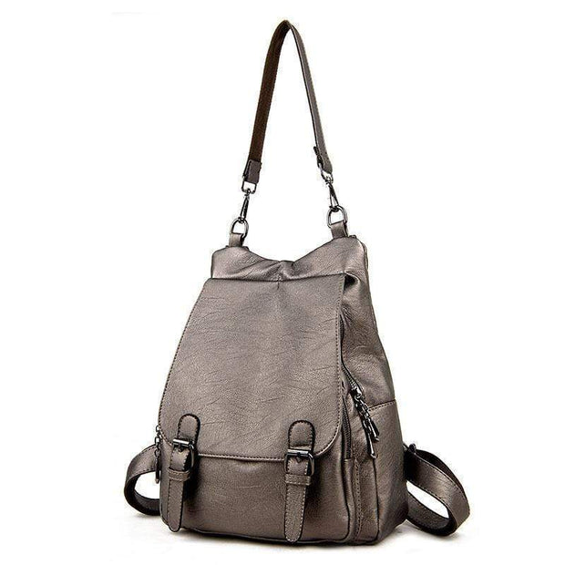 obangbag Gold bronze Ladies Multi Pockets Large Capacity Leather Backpack Shoulder Bag