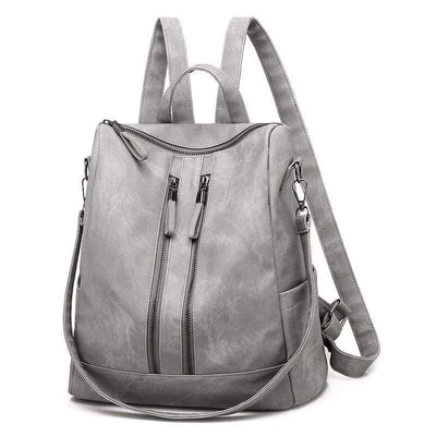 Obangbag Gray Casual Retro Laptop Leather Work Backpack Shoulder Bag