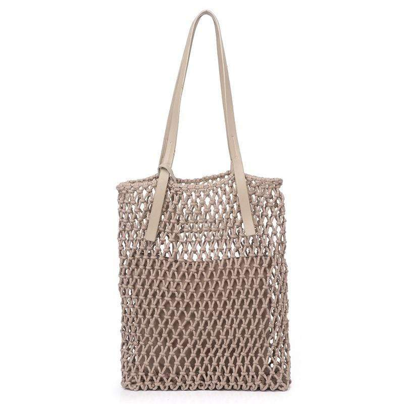 Obangbag gray Ladies Fashion Mesh Straw Rattan Summer Mini Cute Small Beach Bag Handbag
