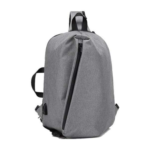 Obangbag gray Men Waterproof Backpack Anti-theft External USB Charge Outdoor Bag Sling Chest Bag