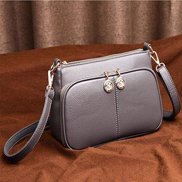 Obangbag Gray Minimalistic Design Multi-layer Zipper Sling Shoulder Bag